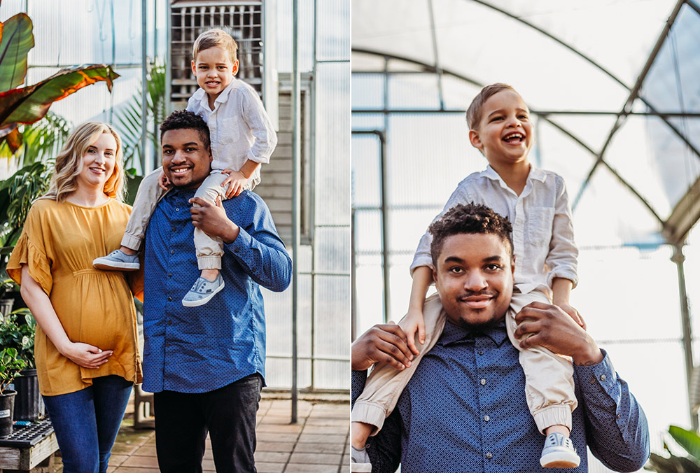 Greenhouse family maternity session