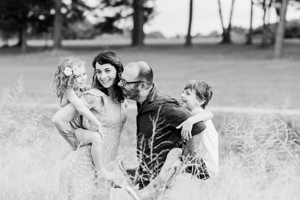 black and white film family session